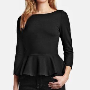 ALICE + OLIVIA Black Long Sleeve Peplum Top